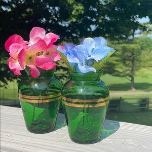 Set of 2VTG Forest Green Anchor Hocking Ring Vases